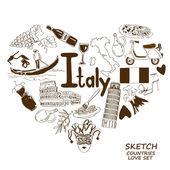 Italian symbols in heart shape concept — Stock Vector