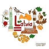 Latvian symbols in heart shape concept — Stock Vector
