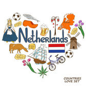 Netherlands symbols in heart shape concept — Stock Vector