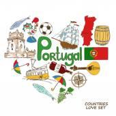 Portuguese symbols in heart shape concept — Stock Vector