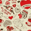 Retro seamless pattern with funny cartoon love elements — Stock Vector #62651769