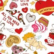 Seamless pattern with funny cartoon love elements — Stock Vector #62651771