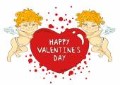 Funny cartoon cupids holding big heart — Stock vektor