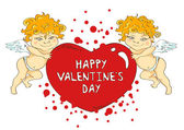 Funny cartoon cupids holding big heart — Vecteur