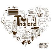 Thailand symbols in heart shape concept — 图库矢量图片