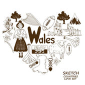 Wales symbols in heart shape concept — Stock Vector