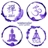 Watercolor set of yoga and buddhism icons — Stock Vector