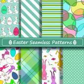 Set of scrapbook Easter seamless patterns — Stock Vector