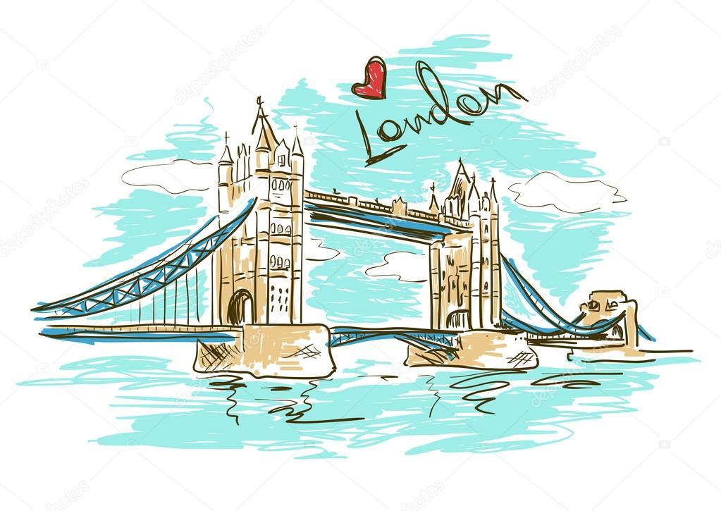 素描图的伦敦塔桥 图库矢量图片 74983423