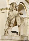 Marble sculpture - a lion in Lviv, Ukraine — Stock Photo