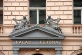 Facade detail of historic house on Havlickova Street in Prague. — Stock Photo