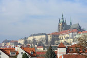 Panoramic view from Manes Bridge toward Prague Castle. — Stock Photo
