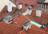 High angle view of tile roofs in Prague, Czech Republic. — Stock Photo