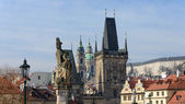 Panoramic view toward Lesser Town towers of Charles Bridge, Prag — Stock Photo