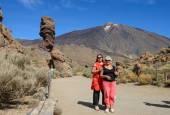 Women portrait on Teide National Park background, Tenerife, Cana — Stock Photo