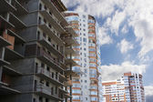 Construction of multi-storey buildings — Stock Photo