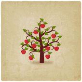 Segundo plano antigo de árvore de maçã — Vetor de Stock