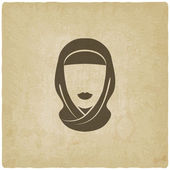 Arabic woman avatar old background — Stock Vector