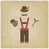 Oktoberfest man with beer mug and sausage — Stock Vector