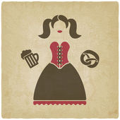 Oktoberfest girl with beer mug and pretzel — Stock Vector