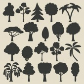 Trees silhouette icons set — Stock Vector