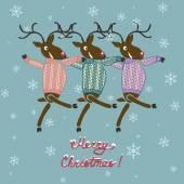 Christmas deer in sweater — Stock Vector