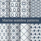 Blue marine seamless patterns set — Stock Vector