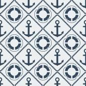 Anchors lifebuoy seamless pattern — Stock Vector