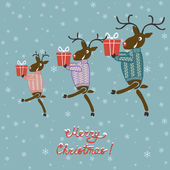 Christmas deer in sweater with gifts — Stockvector
