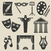 Art theater icons set — Stock Vector