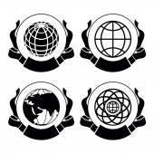 Set of emblems Globes — Stock Vector