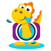 Dinosaur photographer logo — Stock Vector