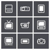 TV and video icon set — Stock Vector