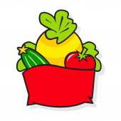 Basket with vegetables logo — Stock Vector