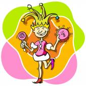 Princess buffoon with a tambourine — Stock Vector