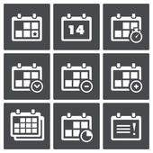 Calendar with notes icon set — Stock Vector