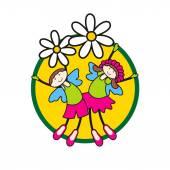 Children on flowers — Stock Vector