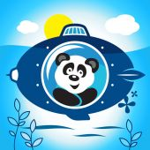 Panda on a submarine — Vetorial Stock
