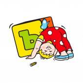 Dziecko z kostką znak — Wektor stockowy