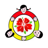 Family circle around the flower sign — Stock Vector