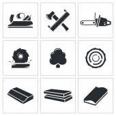 Woodworking Icons set — Stock Vector