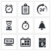 Clock and time icons set — Stock Vector