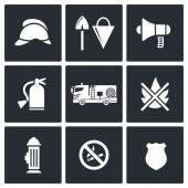 Fire Department Service icons set — Stock Vector