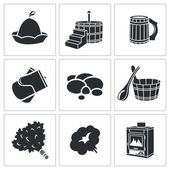 Bath Accessories Icons Set — Stock Vector