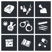 Drugs, traffic icons set — Stock Vector