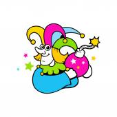 Buffoon, clown cartoon sign — Stock Vector