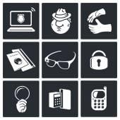 Spying symbols icon set — Stock Vector