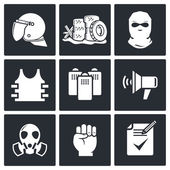 Riots on  street  icon collection — Stockvektor