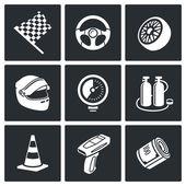 Auto Racing  Icons Set — Stock Vector