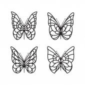 Butterfly silhouette icon set — Stock Vector